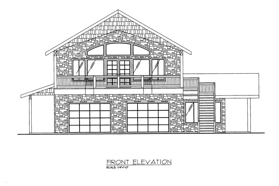 132-1524: Home Plan Front Elevation