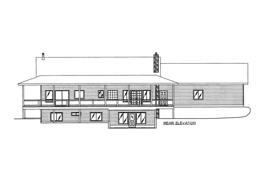 132-1525: Home Plan Rear Elevation