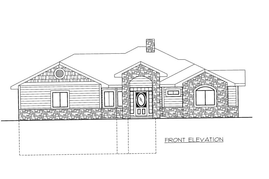 Home Plan Front Elevation of this 2-Bedroom,2039 Sq Ft Plan -132-1527