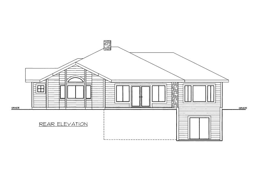 Home Plan Rear Elevation of this 2-Bedroom,2039 Sq Ft Plan -132-1527