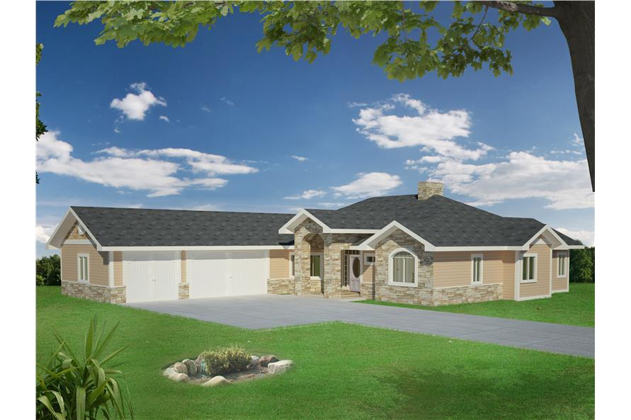 2-Bedroom, 2039 Sq Ft Traditional Home Plan - 132-1527 - Main Exterior