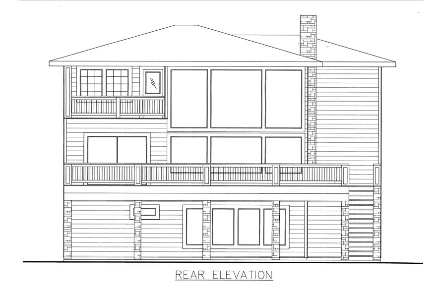 132-1530: Home Plan Rear Elevation