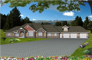 3-Bedroom, 4834 Sq Ft Traditional House Plan - 132-1534 - Front Exterior