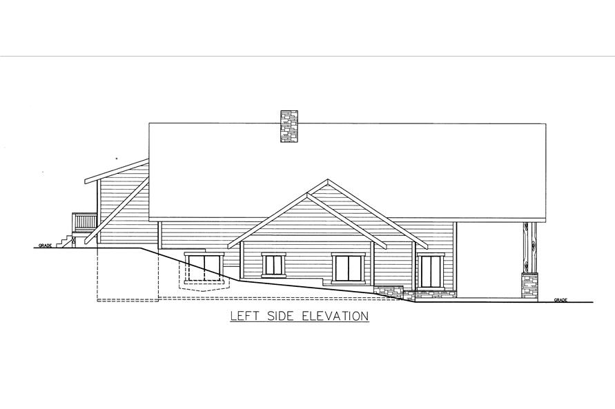 Home Plan Left Elevation of this 3-Bedroom,4312 Sq Ft Plan -132-1535