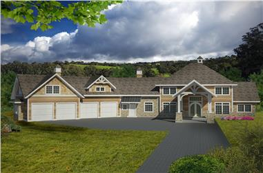 5-Bedroom, 4781 Sq Ft Traditional House Plan - 132-1536 - Front Exterior