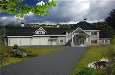 5-Bedroom, 4201 Sq Ft Traditional House Plan - 132-1537 - Front Exterior