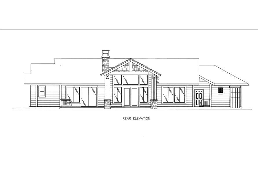 132-1538: Home Plan Rear Elevation