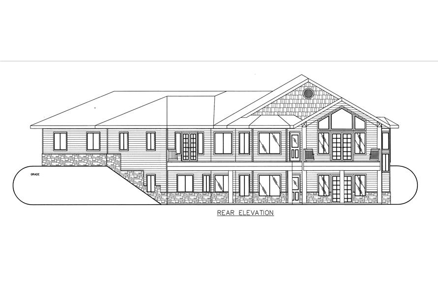 132-1539: Home Plan Rear Elevation