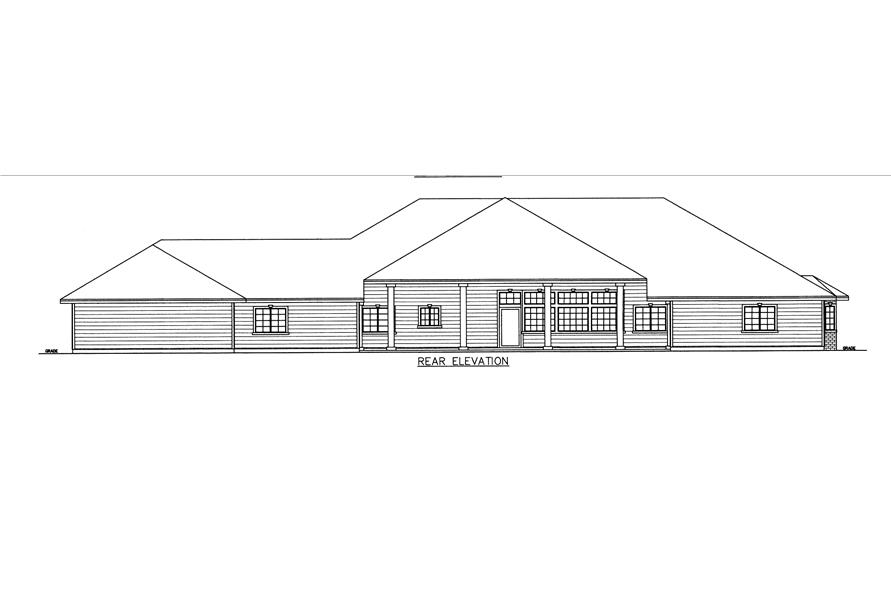 132-1540: Home Plan Rear Elevation