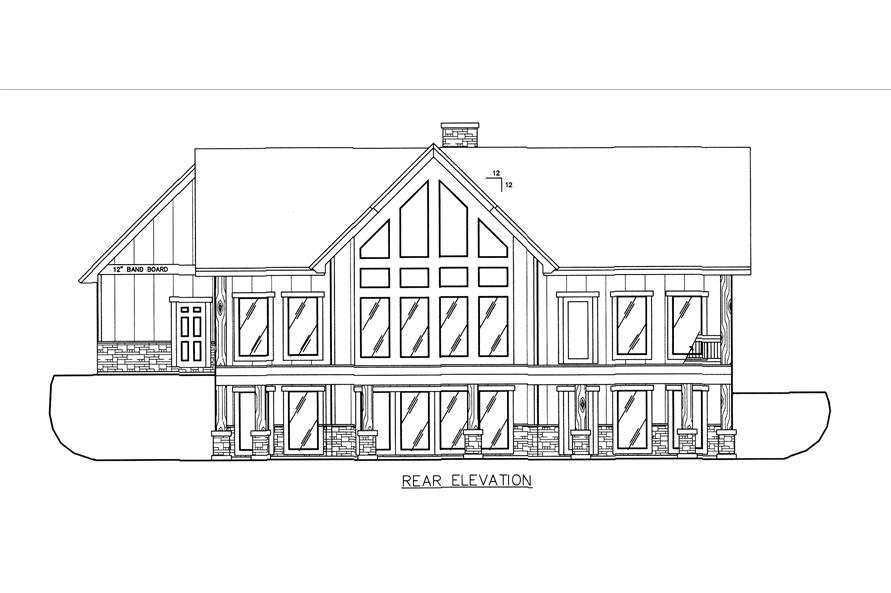 132-1542: Home Plan Rear Elevation