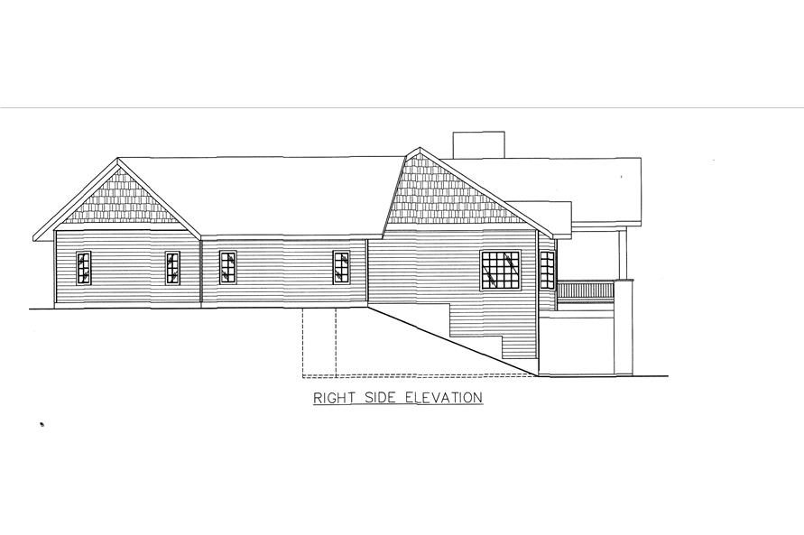 132-1543: Home Plan Right Elevation