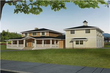 4-Bedroom, 3579 Sq Ft Transitional House Plan - 132-1547 - Front Exterior