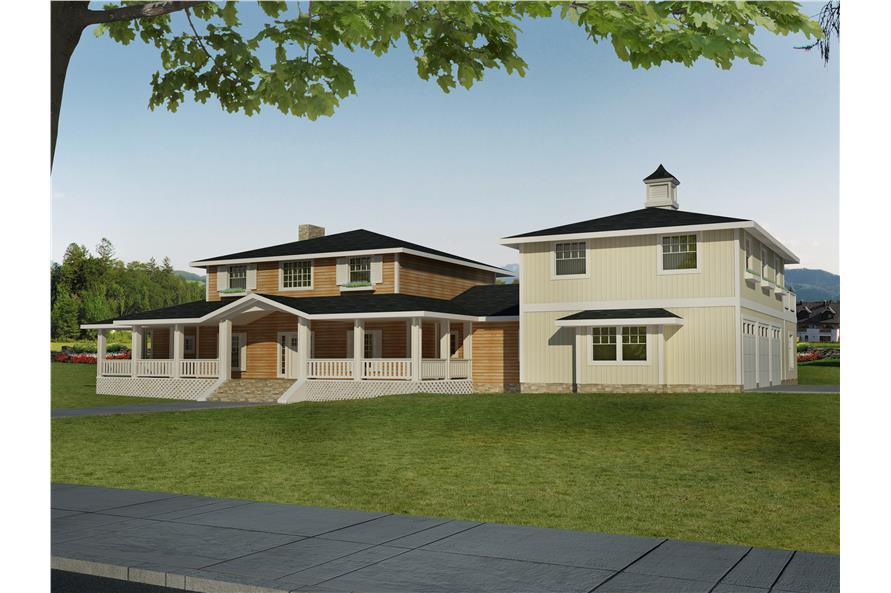 Front elevation of Transitional home (ThePlanCollection: House Plan #132-1547)