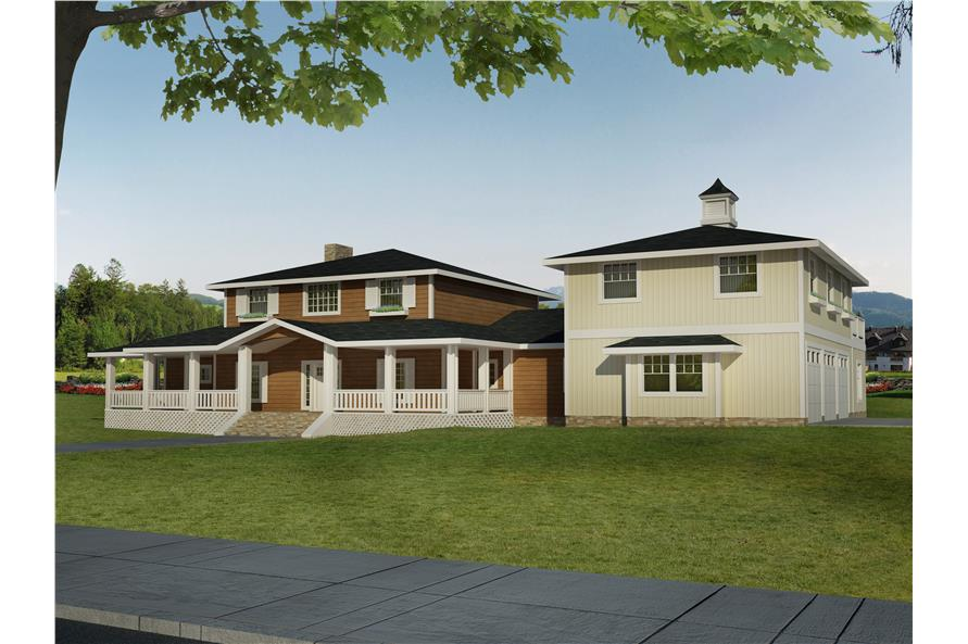 Front elevation of Traditional home (ThePlanCollection: House Plan #132-1548)