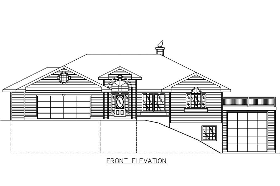 Home Plan Front Elevation of this 2-Bedroom,3302 Sq Ft Plan -132-1552