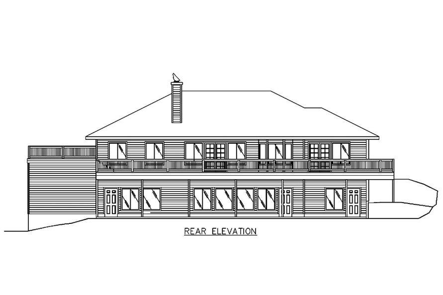 Home Plan Rear Elevation of this 2-Bedroom,3302 Sq Ft Plan -132-1552