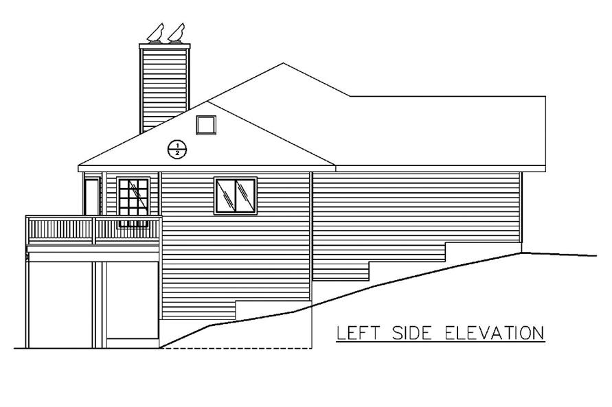 Home Plan Left Elevation of this 2-Bedroom,3302 Sq Ft Plan -132-1552