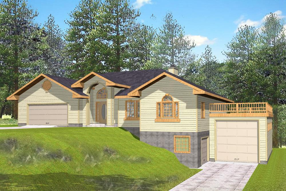 Front elevation of Contemporary home (ThePlanCollection: House Plan #132-1552)
