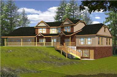4-Bedroom, 4256 Sq Ft Country Home Plan - 132-1556 - Main Exterior