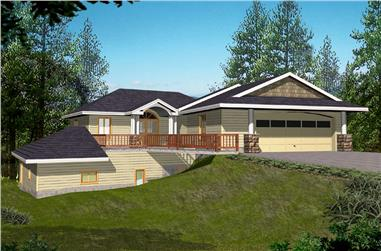 Front elevation of Modern home (ThePlanCollection: House Plan #132-1557)