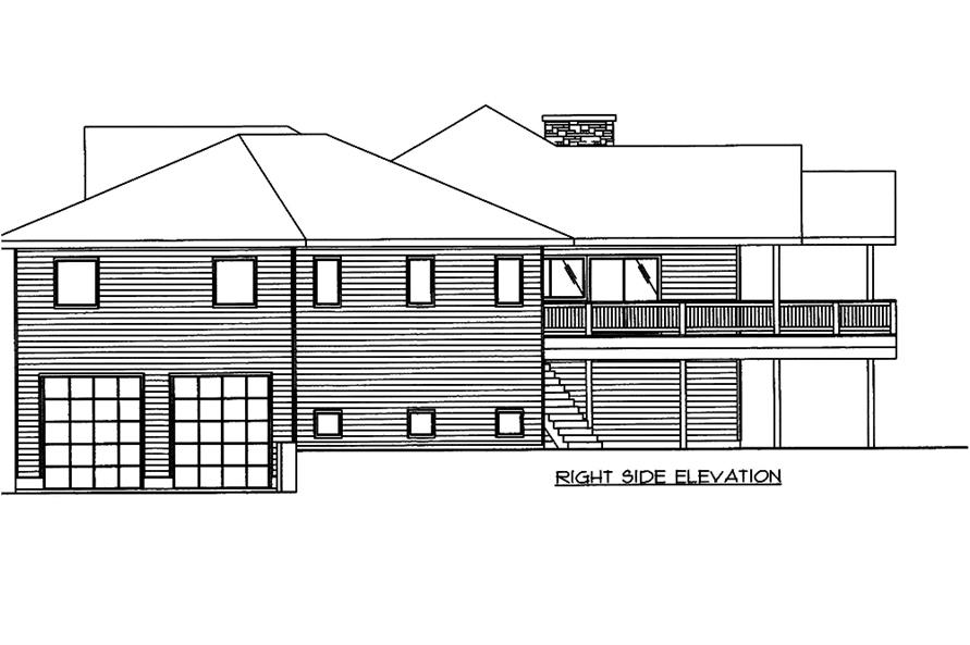 Home Plan Right Elevation of this 5-Bedroom,4632 Sq Ft Plan -132-1563