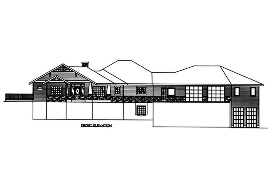 Home Plan Front Elevation of this 5-Bedroom,4632 Sq Ft Plan -132-1563