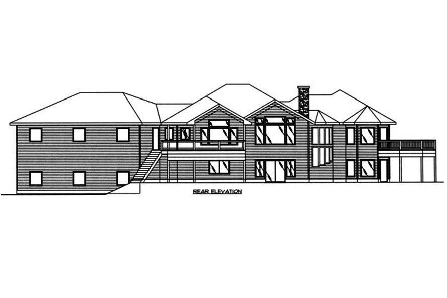 Home Plan Rear Elevation of this 5-Bedroom,4632 Sq Ft Plan -132-1563