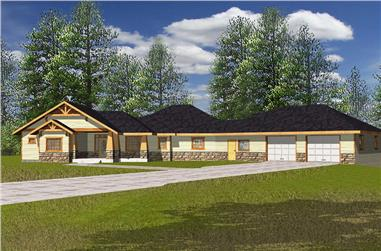 Front elevation of Ranch home (ThePlanCollection: House Plan #132-1563)