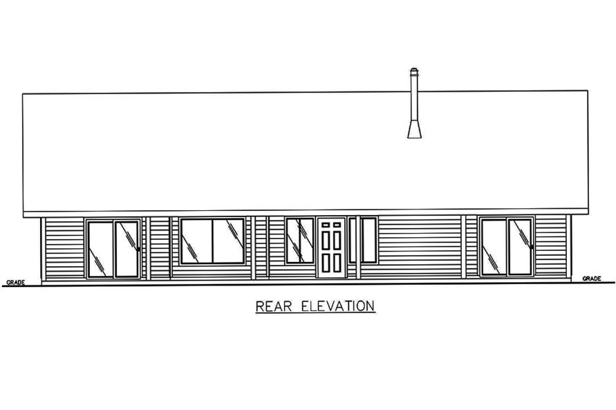 132-1565: Home Plan Rear Elevation