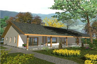 Front elevation of Ranch home (ThePlanCollection: House Plan #132-1565)