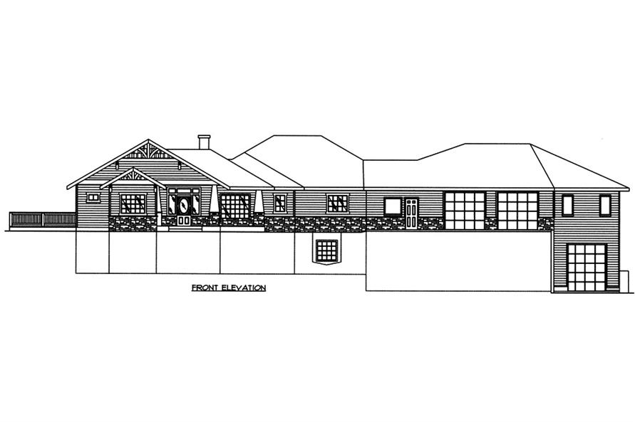 Home Plan Front Elevation of this 5-Bedroom,4286 Sq Ft Plan -132-1566