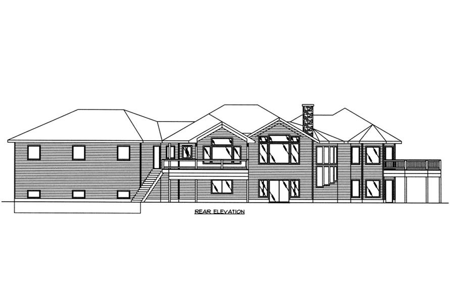 Home Plan Rear Elevation of this 5-Bedroom,4286 Sq Ft Plan -132-1566