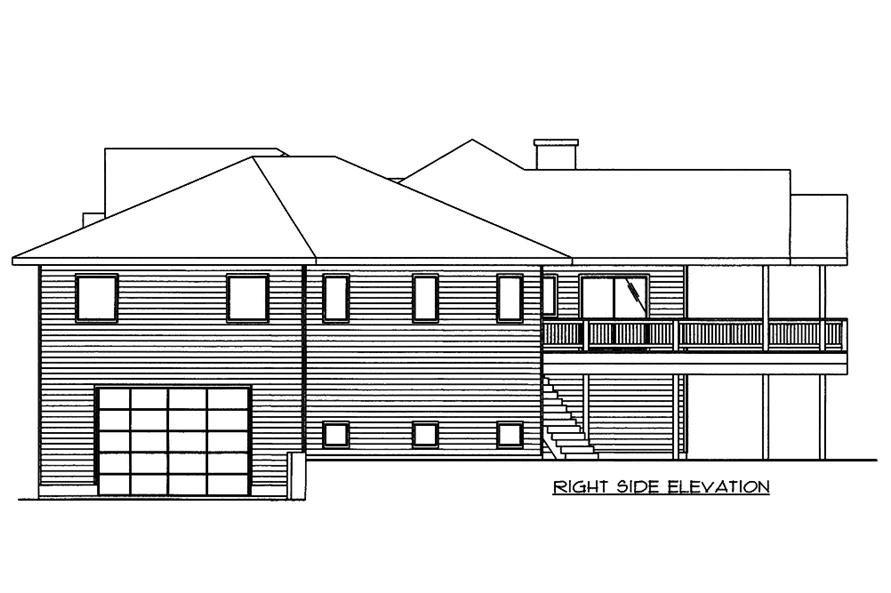 Home Plan Right Elevation of this 5-Bedroom,4286 Sq Ft Plan -132-1566