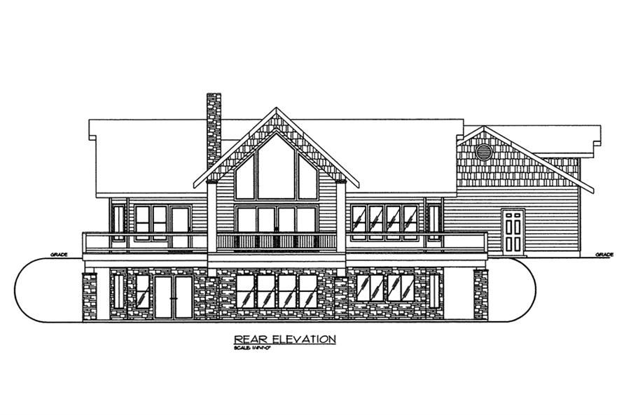 Home Plan Rear Elevation of this 2-Bedroom,3685 Sq Ft Plan -132-1570