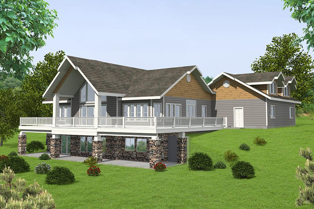 Front elevation of Craftsman home (ThePlanCollection: House Plan #132-1570)