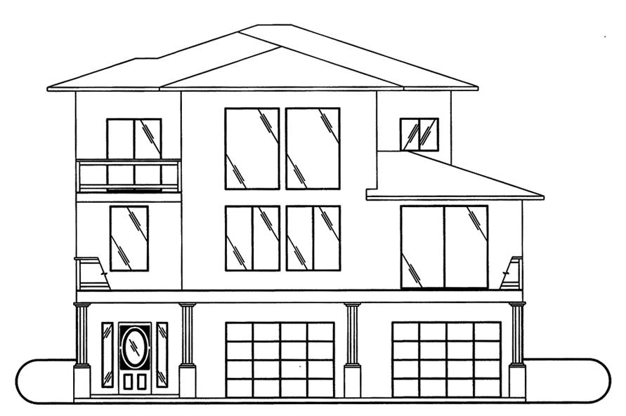 Home Plan Front Elevation of this 3-Bedroom,2697 Sq Ft Plan -132-1571