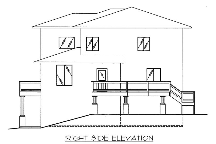 Home Plan Right Elevation of this 3-Bedroom,2697 Sq Ft Plan -132-1571