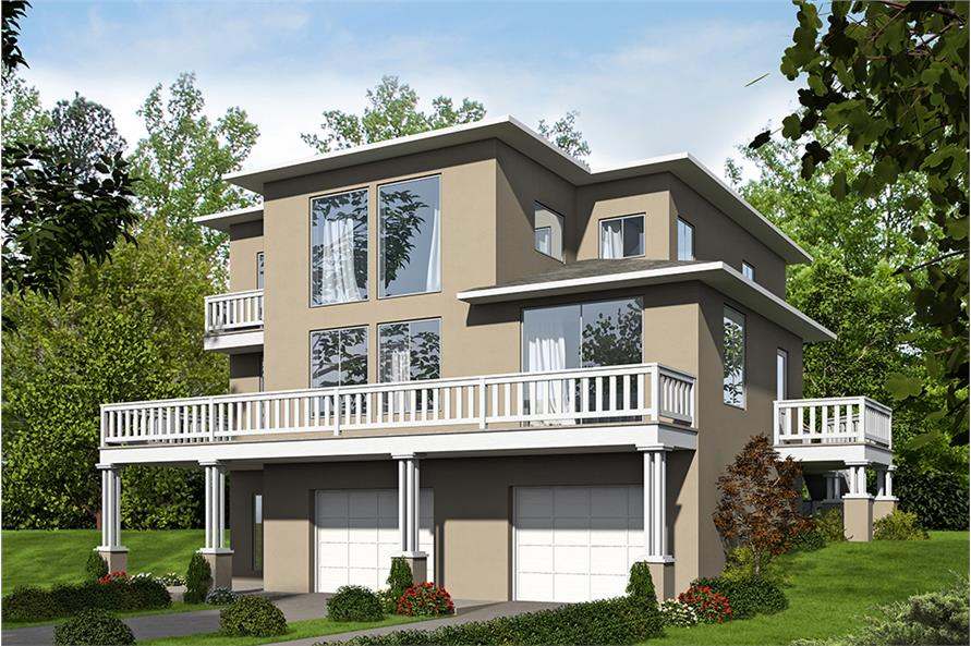 3-Bedroom, 2697 Sq Ft Contemporary House Plan - 132-1571 - Front Exterior