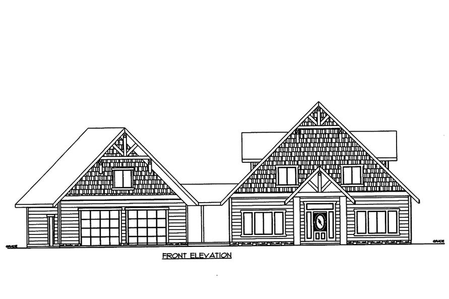 Home Plan Front Elevation of this 4-Bedroom,5142 Sq Ft Plan -132-1572