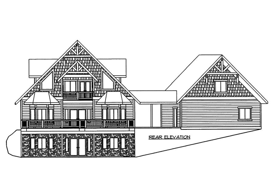 Home Plan Rear Elevation of this 4-Bedroom,5142 Sq Ft Plan -132-1572