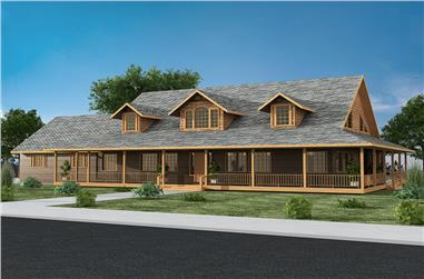 Front elevation of Craftsman home (ThePlanCollection: House Plan #132-1579)