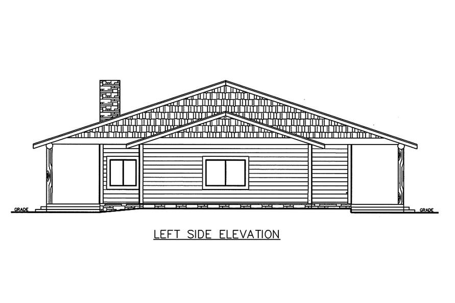 Home Plan Left Elevation of this 3-Bedroom,2076 Sq Ft Plan -132-1584