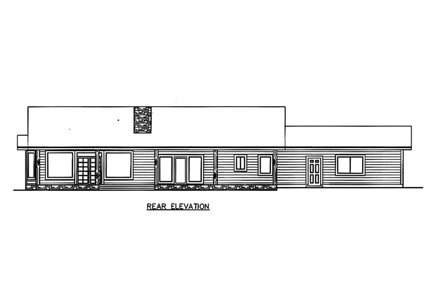 Home Plan Rear Elevation of this 3-Bedroom,2076 Sq Ft Plan -132-1584