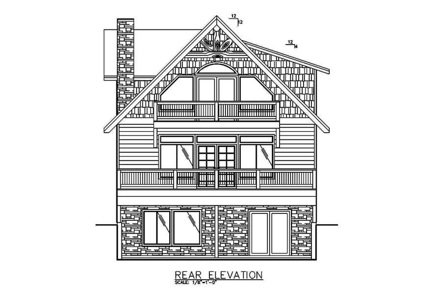 Home Plan Rear Elevation of this 2-Bedroom,2466 Sq Ft Plan -132-1585