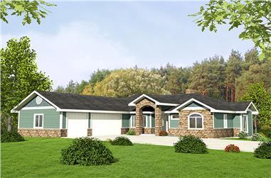 2-Bedroom, 2176 Sq Ft Craftsman Home Plan - 132-1587 - Main Exterior