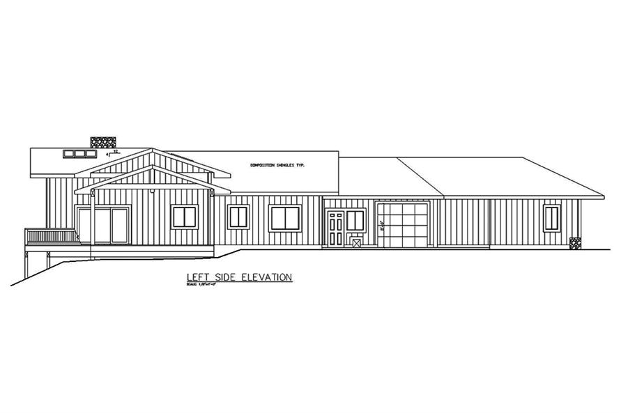 Home Plan Left Elevation of this 5-Bedroom,2943 Sq Ft Plan -132-1589