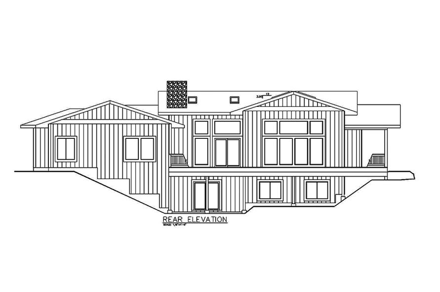 Home Plan Rear Elevation of this 5-Bedroom,2943 Sq Ft Plan -132-1589