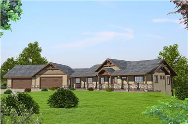 3-Bedroom, 3385 Sq Ft Craftsman Home Plan - 132-1590 - Main Exterior