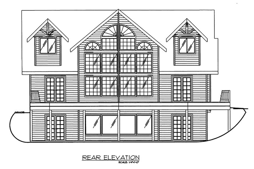 Home Plan Rear Elevation of this 3-Bedroom,2281 Sq Ft Plan -132-1594