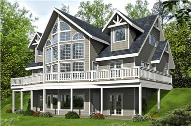 Front elevation of Contemporary home (ThePlanCollection: House Plan #132-1594)